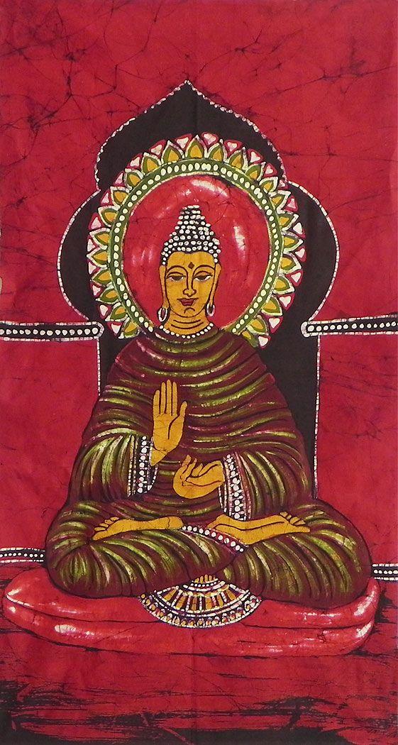 Lord+Buddha+(Batik+Painting+on+Cotton+Cloth+-+Unframed)