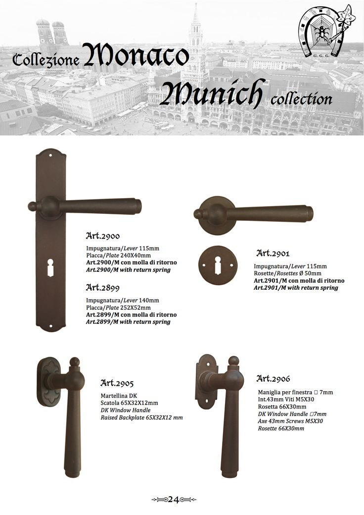 """""""Munich"""" Colllection range of traditional hardware products from Galbusera. A collection of door and window furniture finished in 13 different finishes to suit both traditional and contemporary style homes. Hand crafted in Italy."""