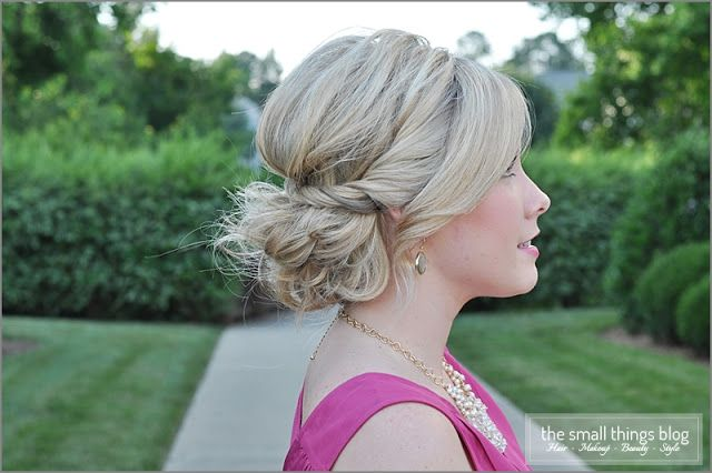 Twisted Updo, video tutorial, updo hairstyle.  I did this for New Year's Eve for my barely shoulder length hair (with styling powder & hairspray) and the style held all night!  |  The Small Things Blog