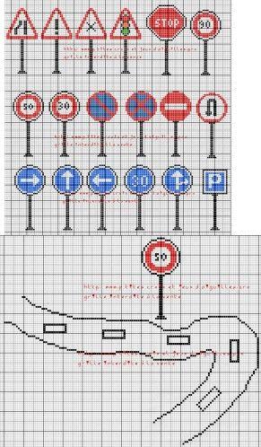 véhicule - véhicle - panneau signalisation - point de croix - cross stitch - Blog : http://broderiemimie44.canalblog.com/