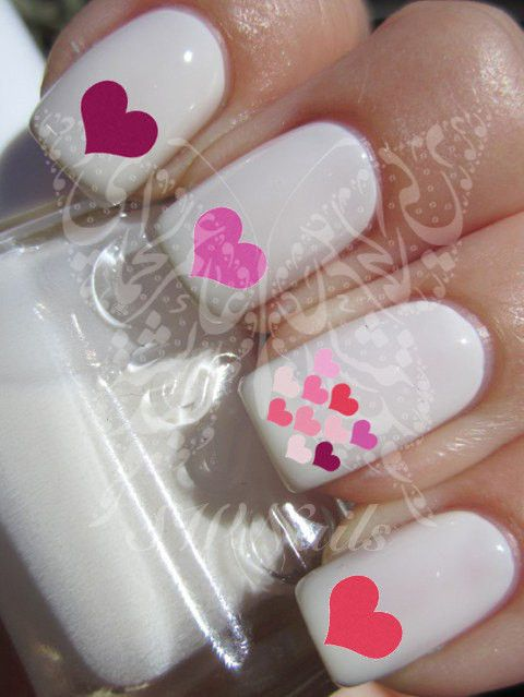 Nail Art Hearts Valentine's Days Nail Water Decals Transfers Wraps