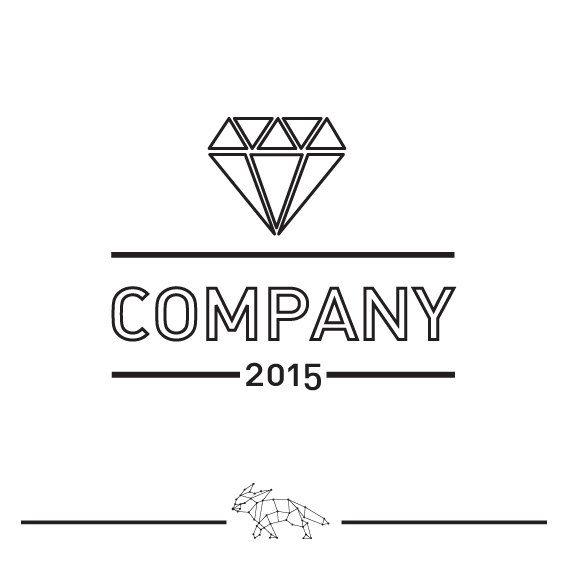Black And White Diamond Logo Pre Made Logo Template By