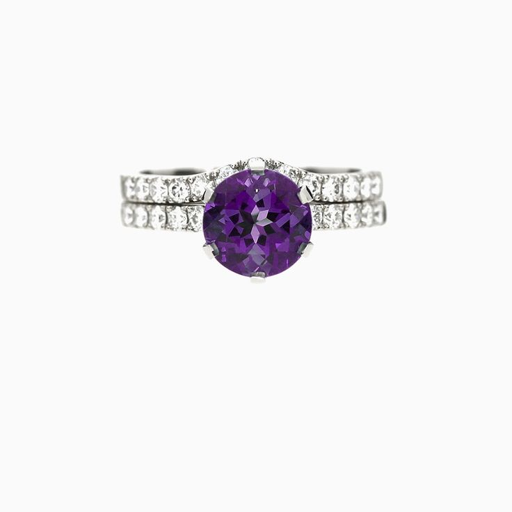 Crown Azura Ring Set With Amethyst