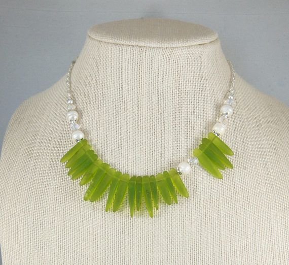 Sea Glass Necklace Sea Glass Spikes with freshwater pearls – Sea Glass Jewelry