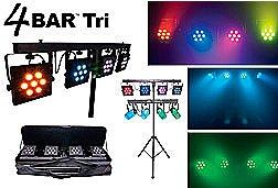 Chauvet 4BAR TRI Lighting Package includes Four High Power Tri-Color Par Cans - Sound Activated - Foot Switch Controller - 1 Tripod Stand includes Carry Bag