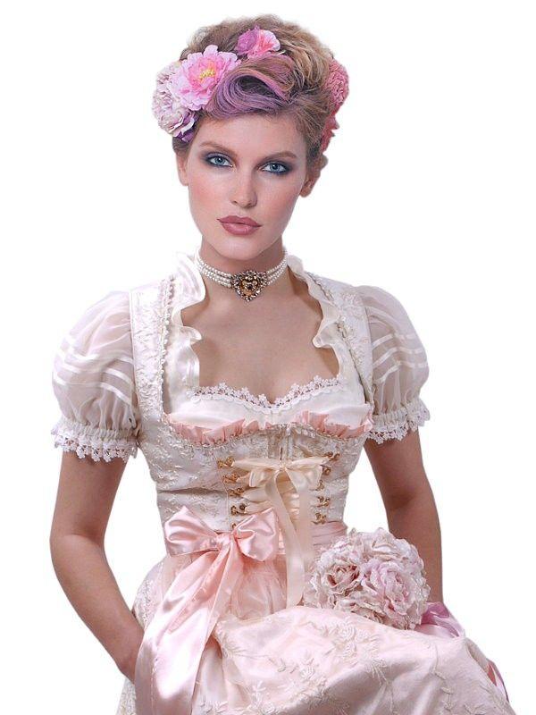 Brautdirndl in Creme/Rosa - glamouröses Hochzeitsdirndl für die elegante Braut - Moschen-Bayern http://www.moschen-bayern.de/brautdirndl-creme-hochzeitsdirndl-99671.html