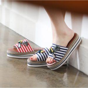 Women's red navy stripe platform wedge flip flops