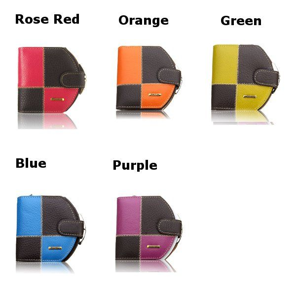 Women Genuine Leather Patchwork Short Wallet Hasp Purse Card Holder Coin Bags