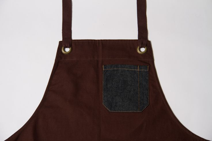 Denim detail on a chocolate coloured apron