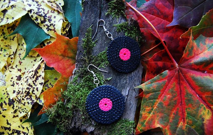 Vinyl record earrings (mini hama beads)