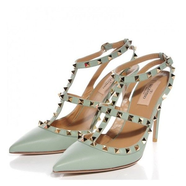 VALENTINO Calfskin Rockstud Ankle Strap Pumps 40.5 Muted Mint ❤ liked on Polyvore featuring shoes, pumps, ankle wrap pumps, mint pumps, mint green pumps, pointed-toe pumps and stiletto pumps