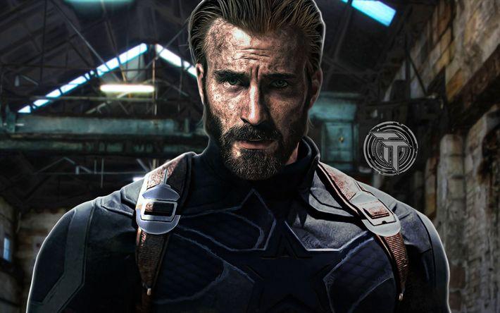 Download wallpapers Captain America, 2018 movie, superheroes, Avengers Infinity War, Chris Evans