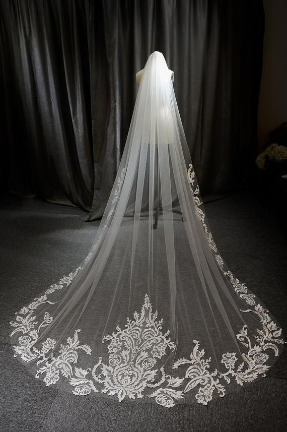 """118/"""" Long,108/"""" Wide Lace Wedding Veil White or Ivory Bridal Accessories Veils"""
