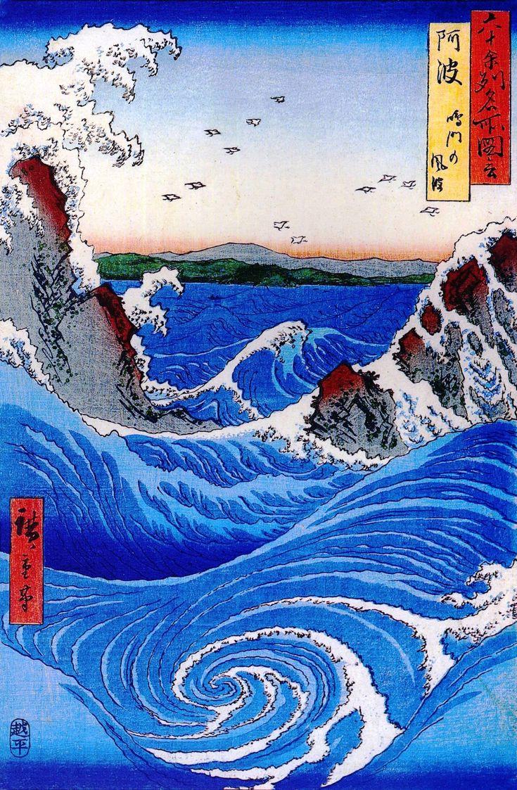 A Hiroshige ukiyo-e print showing a Naruto whirlpool