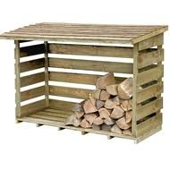 wood storage organized~ pallets to keep dry and ease in stacking. perfect for our shed sidewall