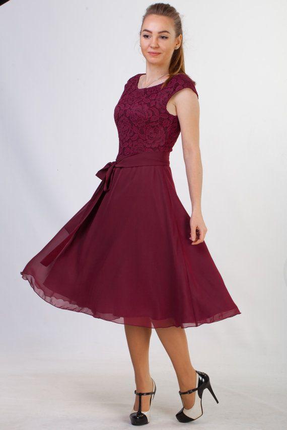 Short burgundy lace dress Short bridesmaid dress by HelensWear