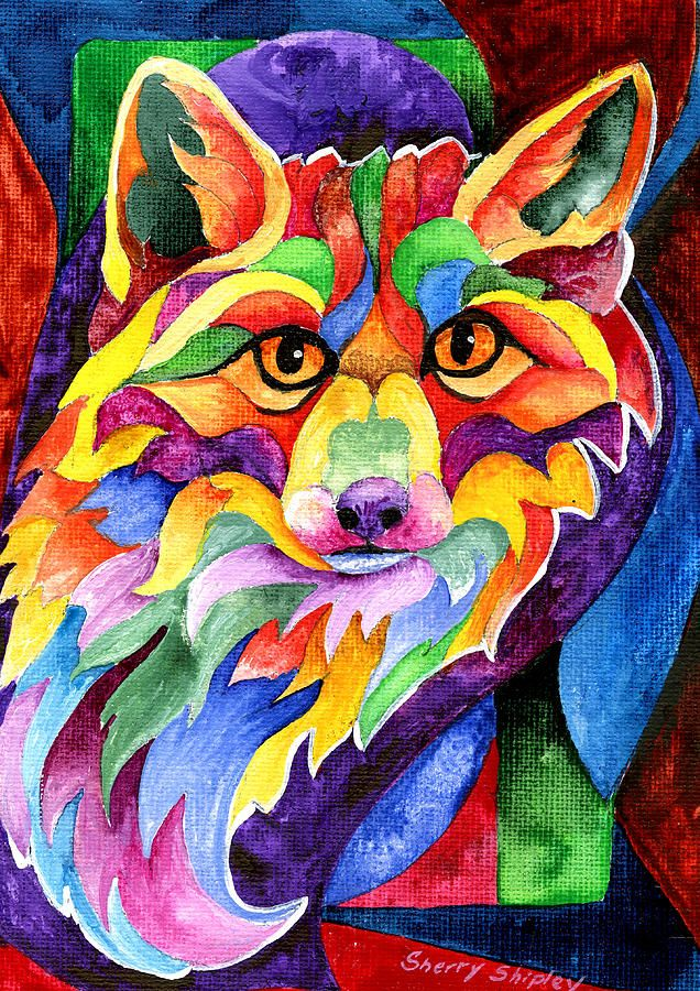 Rainbow fox painting by sherry shipley rainbow fox fine for Art print for sale