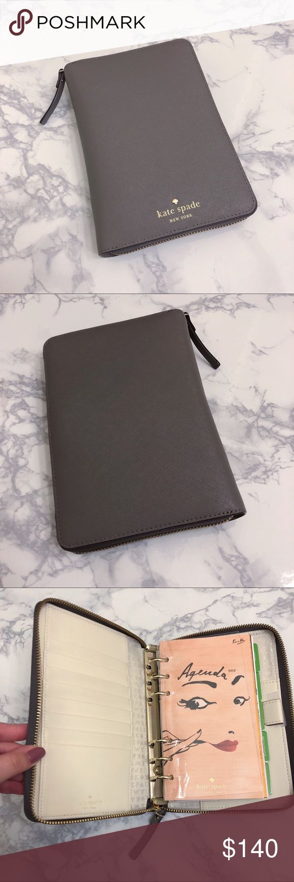 Kate Spade Zip Around Personal Planner Zip Around Personal Organizer in Cliff Grey. Purchased directly from Kate Spade online. New without tags. Inserts are from 2017 but I will leave them as some pages can still be used anytime. kate spade Accessories