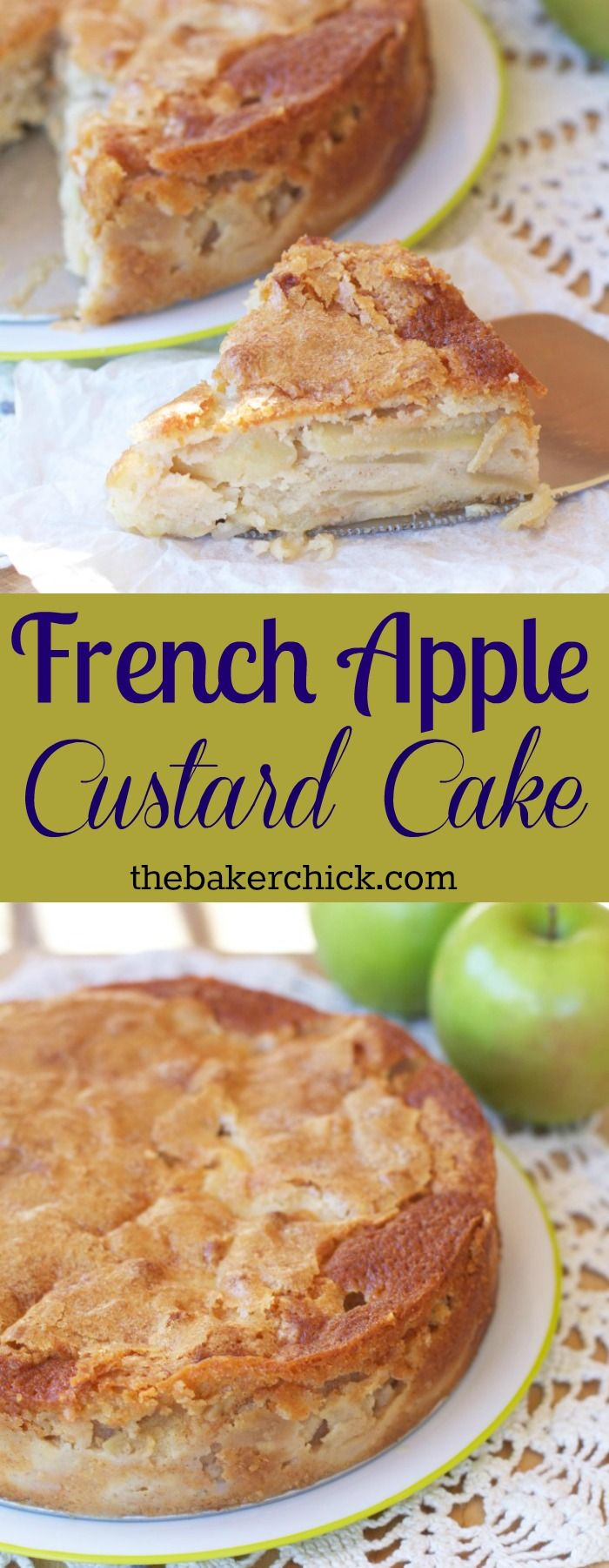 French Apple Custard Cake -- thinly sliced apples covered in a custard batter and sprinkled on top with a touch of sugar make a custard Apple filling with a golden crispy bottom and top cake. So so so good!! (Left out the dash of alcohol and added a pinch of nutmeg and reduced the sugar by 30%)