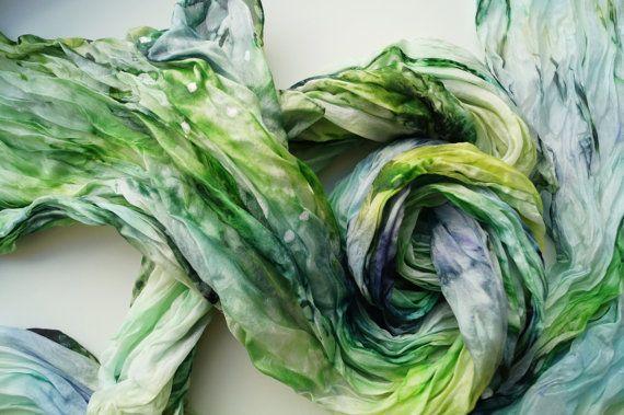 Silk Scarf, Handpainted Silk Scarf, Green Blue Silk Scarf, Hand-Dyed Silk Scarf, Handpainted Silk Shawl, Blue Green Silk Scarf