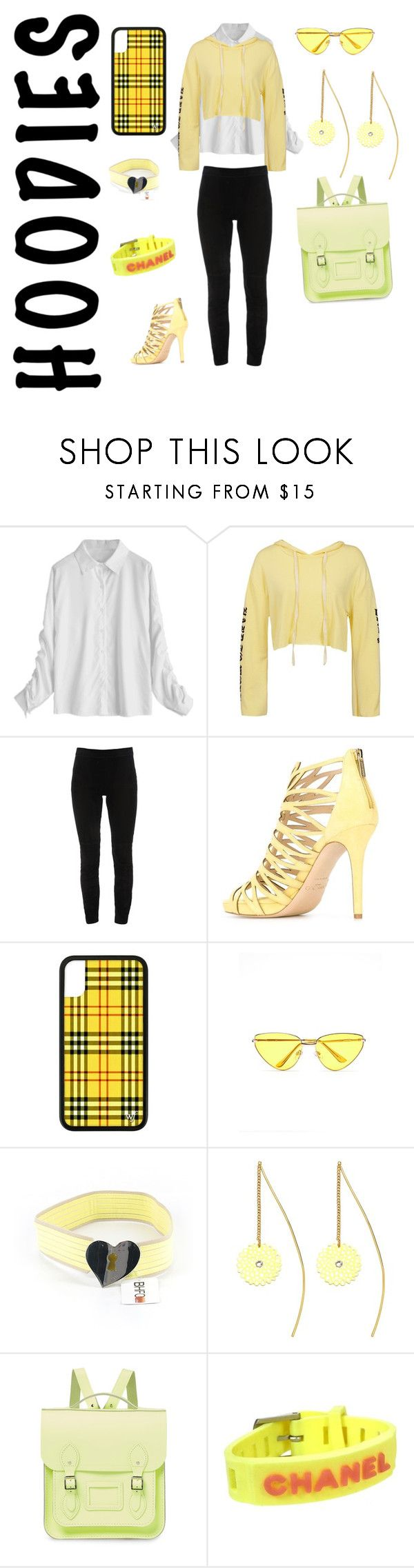 """""""Sunshine"""" by tedegirl on Polyvore featuring Sans Souci, Elie Tahari, Jimmy Choo, Express, Current/Elliott, Sterling Forever, The Cambridge Satchel Company, Chanel and Hoodies"""