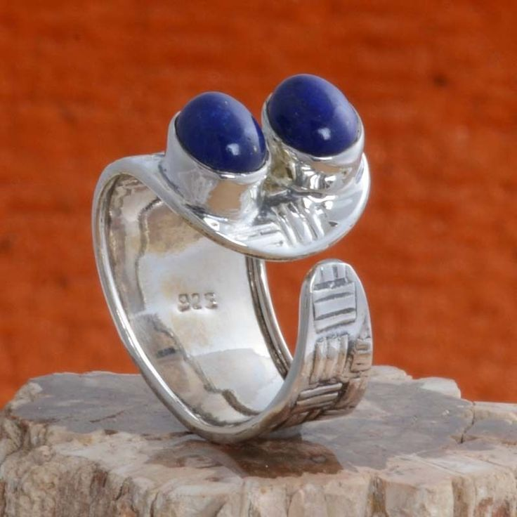 925 SOLID STERLING SILVER LAPIS FANCY RING 5.64g DJR10674 SZ-9 #Handmade #Ring