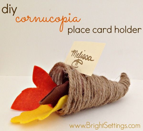 diy cornucopia place card holder—These easy to make, whimsical little cornucopia place card holders are sure to be a hit at your holiday dinner! #DIY #Thanksgiving #placecardholder