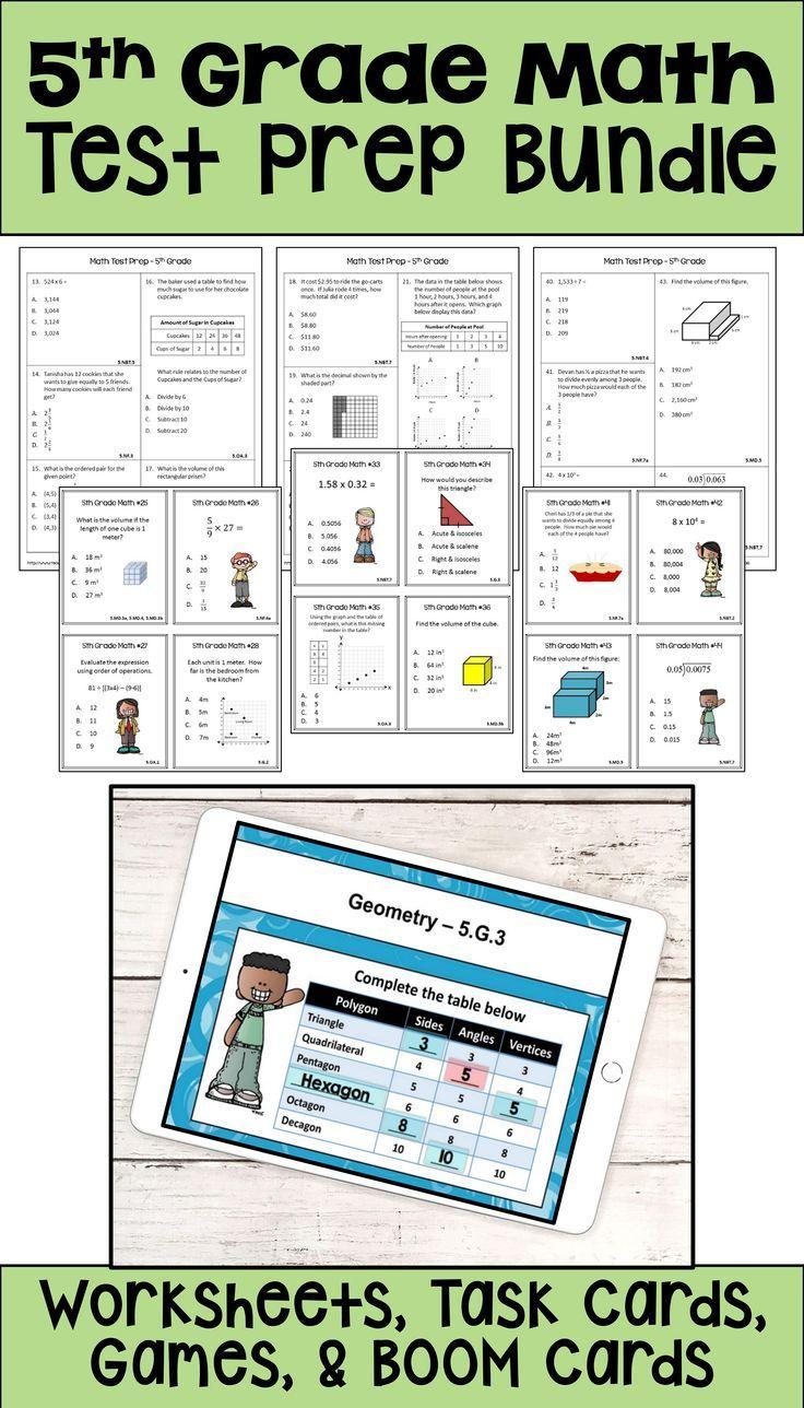 Math Test Prep Bundle 5th Grade Math Review In 2020 5th Grade Math Math Test Prep Math Test