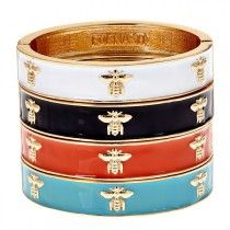 Bumble Bee Bracelet in White, Black, Coral or Turquoise~again with the enamel bangle love...& people style watch just let me know bug jewelry is going to be huge fall 2013