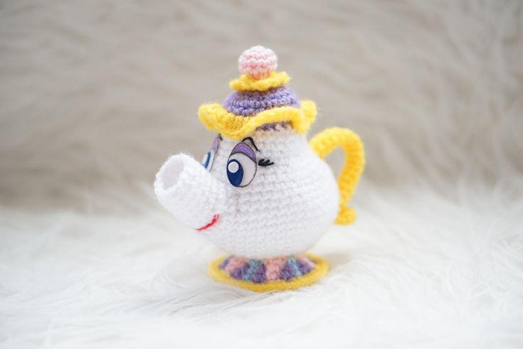 Sra POTTS La Bella y la Bestia Tetera Patrón Amigurumi Chip Taza Disney Película Sencillo Fácil DIY PDF Crochet Ganchillo Tutorial de Amigurumeria en Etsy