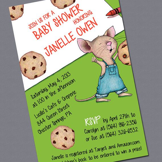 Cutest Baby shower theme I've seen in a while! love the idea of a book fir a raffle! great way to start baby's collection!!! If You Give a Mouse a Cookie Baby Shower by dreamBIGdesign on Etsy