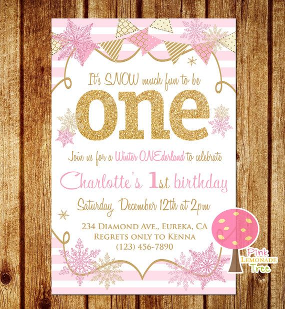 Pink and Gold First Birthday Party Invitation, Snowflakes, Winter Onderland, Gold Glitter, One, Pink Stripes, Personalized, First Birthday