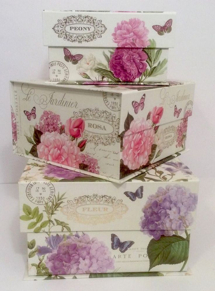 New lovelies! Abbington Park Butterfly Floral Hydrangea Paris Keepsake Organizer Storage Boxes