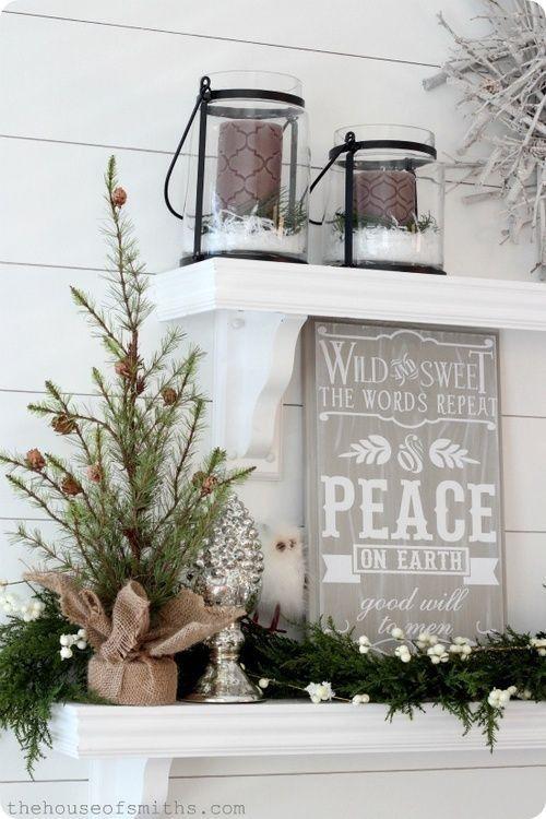 Christmas decor - greens, candles, words