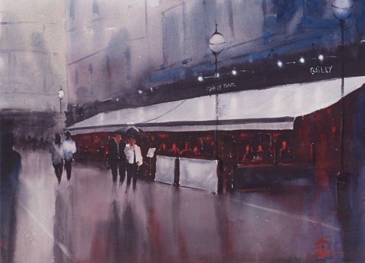 Alan Somers- The Bailey #dublin #art #painting #watercolour #citystreets #fineart