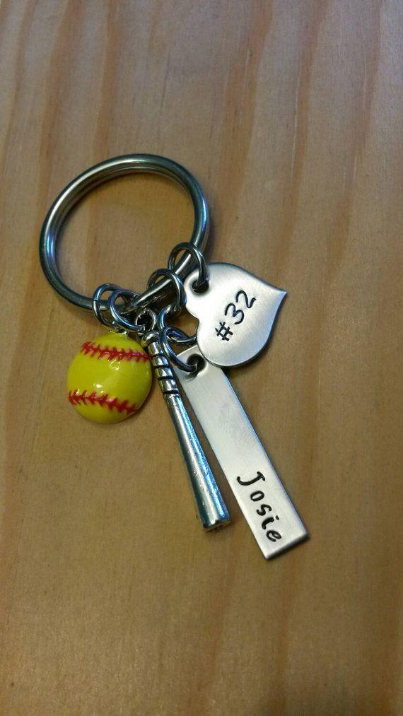 Hand stamped softball keychain.  Softball team gift https://www.etsy.com/listing/206675050/hand-stamped-softball-keychain-bat-bag