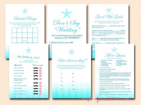 Beach Theme Bridal Shower Games - Magical Printable