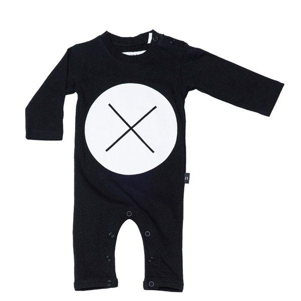Huxbaby Circle Cross Long Sleeve Romper Black