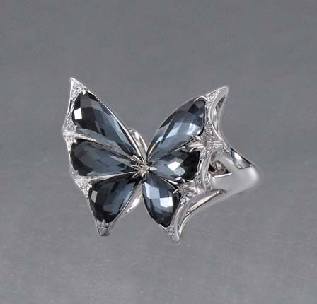 Stephen Webster Fly By Night 18kt White Gold Hemetite and White Pave Butterfly Ring #JRDunn #Jewelry