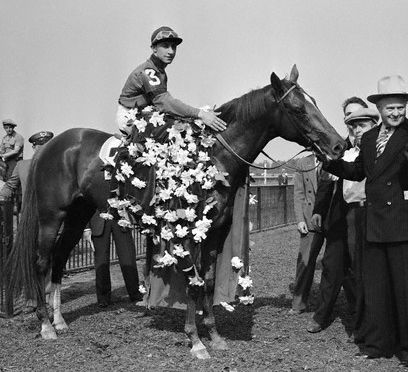 Whirlaway~Eddie Arcaro Whirlaway, 1941  Whirlaway wears a rose blanket on May 3, 1941 after winning the Kentucky Derby at Churchill Downs in Louisville. The horse was ridden by jockey Eddie Arcaro to Triple Crown glory after winning the Derby, Preakness and Belmont Stakes in 1941
