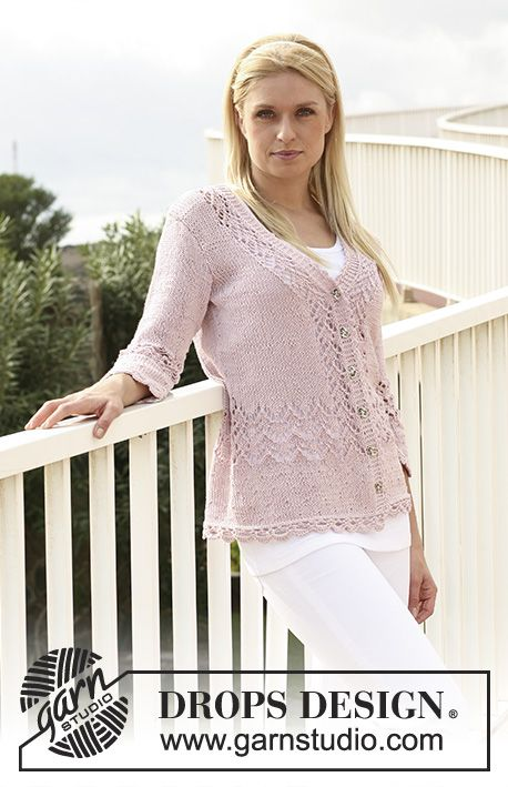 "Pink Rails / DROPS 111-5 - DROPS jacket in ""Muskat"" with lace pattern and 3/4 sleeves. Size S - XXXL."