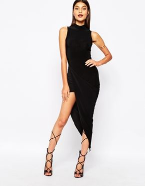 Club L Slinky High Neck Dress With Ruched Wrap Skirt Detail