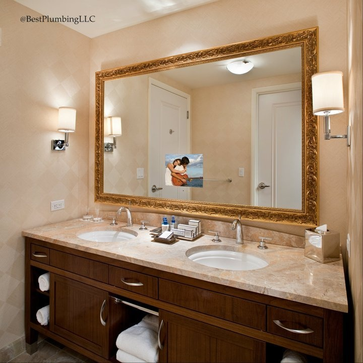 Stanford Bathroom Mirror TV With A Hidden LED HDTV Comes In Eight Standard Sizes And Can Be Upgraded Many Custom Options