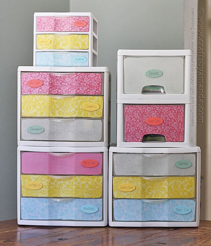 You can buy plastic storage drawers from any WalMart or Target and use them for a variety of things. they're great for make-up, toys, socks, craft supplies and papers. I have some rather large cabinets in my bathroom, but that's exactly what they are… large. No shelves, no dividers, just a big space. So toRead More »