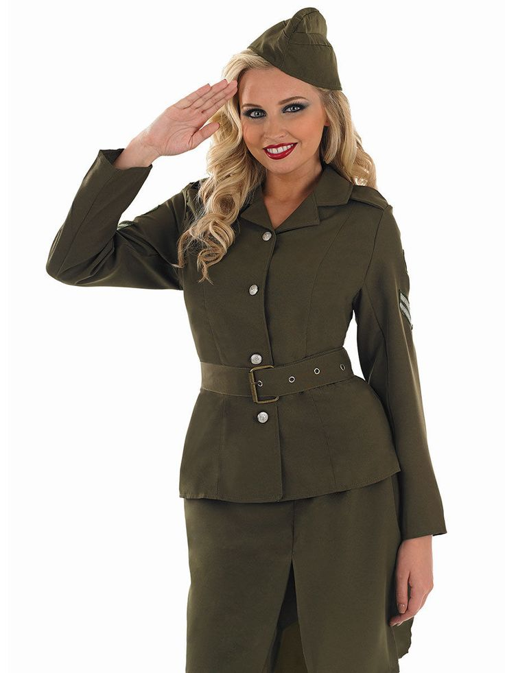 40s WW2 Army Girl Costume Soldier Uniform Ladies Womens Fancy Dress Outfit 8-26 | eBay