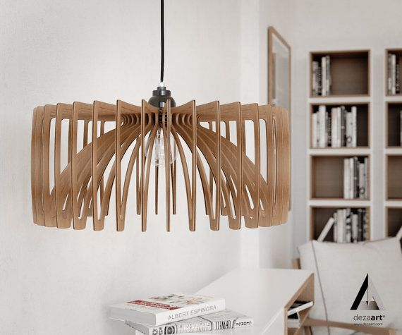 Wood Pendant Light Chandelier Modern Lamp Ceiling Lighting Shade Industrial Dinning Hanging Fixture Wooden Room