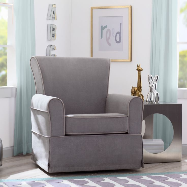 Delta Children Benbridge Nursery Glider Swivel Rocker Chair, Dove Grey with Soft Grey Welt (Dove Grey & Soft Grey) (MDF)
