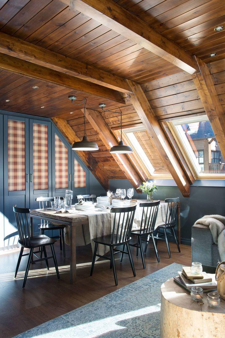 50 sombras de gris decorando salones de madera techos - Color paredes casa ...