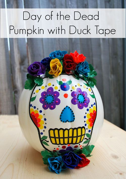shopping online jewellery Great Day of the Dead pumpkin made with Duck Tape