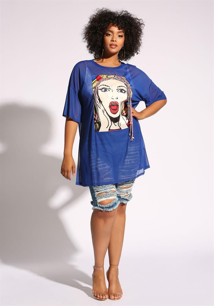 b989f47f Plus Size Clothing | Plus Size Studded Rope Pop Art Mesh Tee | Debshops